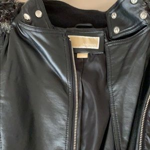 Micheal Kors Leather and fabric with fur jacket